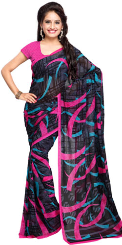 Radiant Pomp Georgette Saree