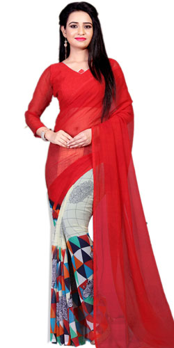 Gorgeous Art Chiffon Printed Design Saree in Red Color for Ladies