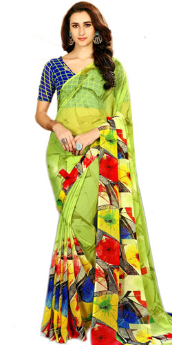 Classy Green Color Art Chiffon Saree for Lovely Ladies