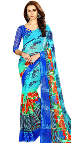 Eye-Catching Blue Color Printed Chiffon Sari