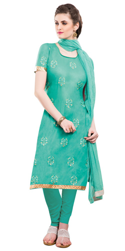 Astonishing Green Coloured Embroidered Salwar Kameez
