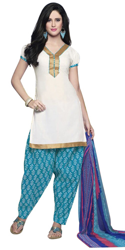 Extravagant White Coloured Pure Cotton Patiala Suit