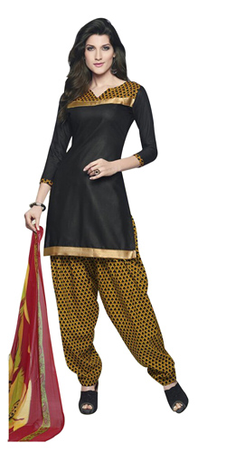 Fabulous Cotton Printed Patiala Suit Shaded in Black and Yellow