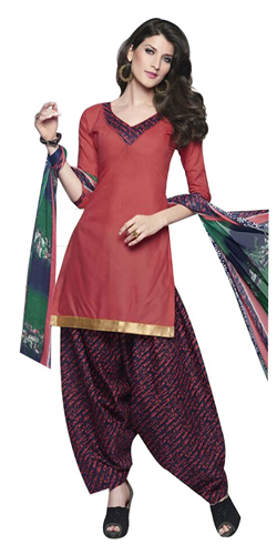 Graceful Cotton Printed Patiala Suit in Pink and Blue Shades