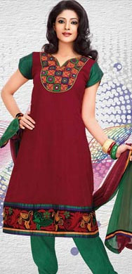 Exotic Cotton Printed Patiala Suit Shaded in Red and Maroon