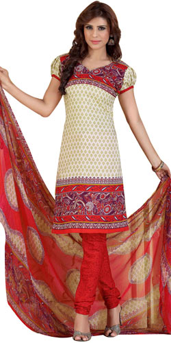 Fascinating Printed Chiffon and Crepe Salwar Suit from Siya