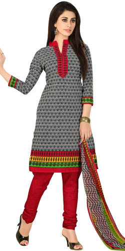 Stylish Printed Cotton and Chiffon Salwar Suit from Welcome Brand for Women
