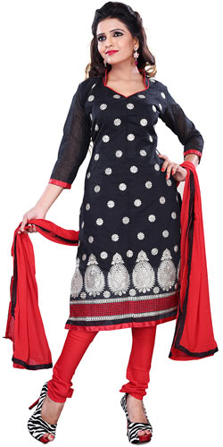 Glamorous Black Printed Cotton Fashionable Salwar