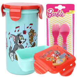 Eye-Catching Off to School Tom and Jerry Design Tiffin Set