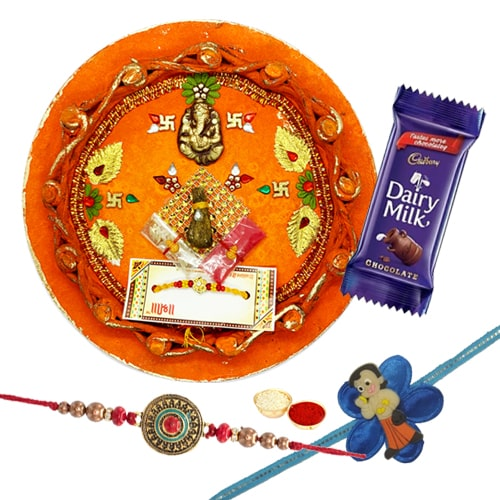 Kid Rakhi N Adult Rakhi Along with Rakhi Thali