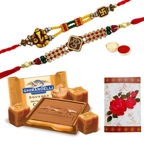 Elegant 2 or More Rakhi and famous Ghiradelli Chocolates with Love