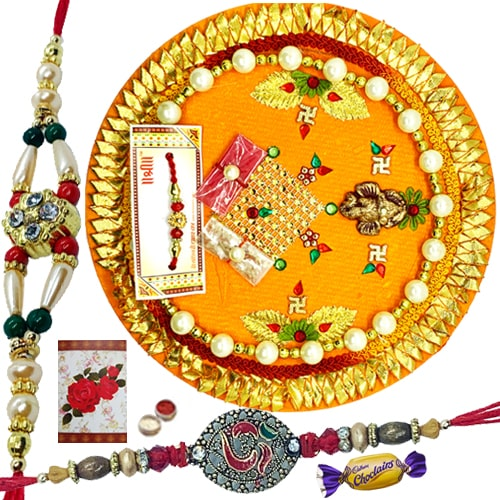 Irresistible Choco and 2 Rakhis of Ceaseless Brotherliness with Thali