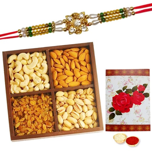 Delicious 250 Gms. Dry Fruits with One or More Ethnic Rakhi