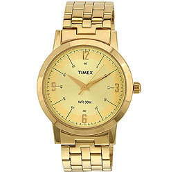 Simple Golden Coloured and Round Dialed Gents Watch Presented by Timex