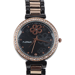 An Attractive Black & Rose Gold Plating American Diamonds Womens Watch