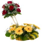 Eye-Catching and Designer Arrangement of Eight Gerberas and Seven Roses with Isle Of Style