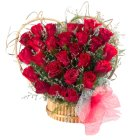 Attention-Getting 24 Red Roses Heart Shaped Arrangement with Lots of Love